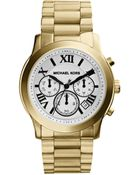 Michael Kors Mid-Size Cooper Golden Stainless Steel Runway Chronograph Watch - Lyst