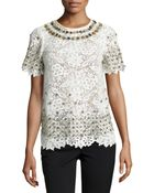 Monique Lhuillier Short-Sleeve Lace Embellished Top - Lyst