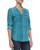 Equipment Long-Sleeve Reptile Blouse W/ Pockets - Lyst