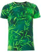 Versus  Forest-Print Jersey T-Shirt - Lyst