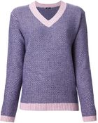 Jil Sander Navy Check Knit Jumper - Lyst