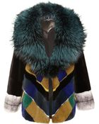 J. Mendel Plaid Mink Jacket with Silver Fox Collar - Lyst
