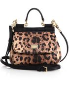 Dolce & Gabbana Micro Miss Sicily Leopard Crespo Top-Handle Satchel - Lyst