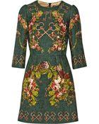 Dolce & Gabbana Printed Matelassé Mini Dress - Lyst