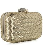 Forzieri Woven Leather Clutch W/Crystals Closure - Lyst
