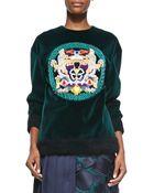 Mary Katrantzou Embellished Medallion Velvet Sweatshirt - Lyst