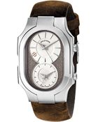 Philip Stein Large Swiss Signature Watch With Beige Dial On Brown Assolutamente Strap - Lyst