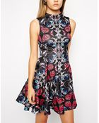 Asos Scuba Skater Dress In Mirror Butterfly With High Neck - Lyst