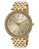 Michael Kors Women'S Darci Gold Tone Dial Gold Tone Ion Plated Stainless Steel - Lyst