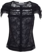 Nina Ricci Silk And Lace Top With Pearl Embellishment - Lyst