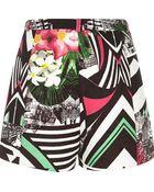 River Island Black Abstract Print Smart Shorts - Lyst