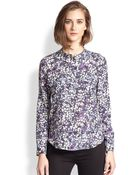 Rebecca Taylor Floral Silk Blouse - Lyst