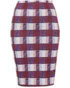 Topshop Petite Textured Check Tube Skirt - Lyst