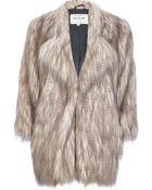 River Island Silver Long Pile Faux Fur Coat - Lyst