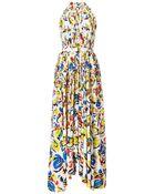 Saloni Irina Printed Halter Maxi Dress - Lyst