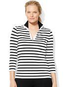 Lauren by Ralph Lauren Plus Striped Mockneck Pullover - Lyst