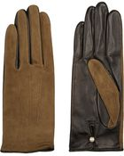 Agnelle Suede And Leather Gloves - Lyst