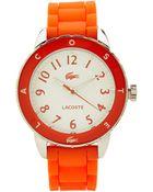 Lacoste 2000747 Orange & Silver-Tone Ladies Watch - Lyst
