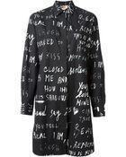 MSGM Typo Print Shirt Dress - Lyst