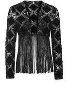 Topshop Crochet Suede Fringe Cardigan - Lyst