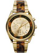 Michael Kors Clarkson Goldtone Stainless Steel Tortoiseprint Acetate Chronograph Bracelet Watch - Lyst