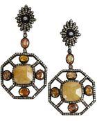 Amrapali Orange And Yellow Sapphire Geometric Diamond Drop Earrings - Lyst