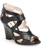 Miu Miu Leather Cut-Out Wedge Sandals - Lyst