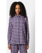 Topshop 'Betty' Checked Pajama Shirt - Lyst
