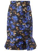 Oscar de la Renta Rose-Print Fluted Skirt - Lyst