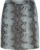 River Island Blue Snake Print Glitter Mini Skirt - Lyst