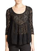 Free People Gracie Brushed Lace Peplum Top - Lyst