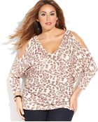 Inc International Concepts Animalprint Coldshoulder Sweater - Lyst
