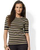 Lauren by Ralph Lauren Petite Buttoned shoulder Striped Cotton Crewneck - Lyst