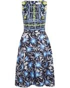 Peter Pilotto Blue Digital Print Fit And Flare Silk Dress - Lyst