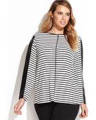 Calvin Klein Plus Size Striped Faux-leather-trim Top - Lyst