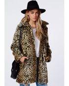 Missguided Kylie Faux Fur Leopard Coat Brown - Lyst
