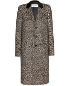 Saint Laurent Leopard-Print Wool Coat - Lyst