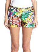 Milly Nikki Tropical-Print Shorts - Lyst