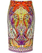 Etro Stretch Cotton Paisley Print Pencil Skirt - Lyst