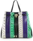 Roberto Cavalli Small Striped Snakeskin Top-Handle Tote - Lyst