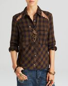 Free People Top - Lace Up Plaid - Lyst