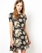 Oasis Floral Belted Skater Dress - Lyst