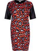 River Island Red Graphic Leopard Print T-Shirt Dress - Lyst