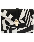 Angel Jackson Monochrome Leather Applique Clutch - Lyst