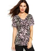 Inc International Concepts Printed Pleated-Neck Short-Sleeve Top - Lyst