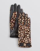 Kate Spade Cheetah-Print Haircalf Tech Gloves - Lyst