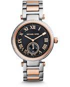 Michael Kors Skylar Silver And Rose Gold-Tone Bracelet Watch - Lyst