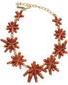 Oscar de la Renta Red Anemone Resin Necklace - Lyst