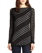 Bailey 44 Gadget Perforated Stretch Jersey Top - Lyst