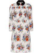 Miu Miu Floral-Print Silk-Crepe Dress - Lyst